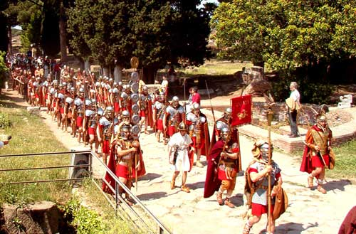 Roman reenactors in Ostia