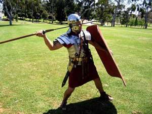 a Roman soldier prepares to throw his pila